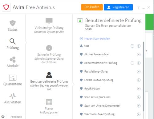 Avira Free Antivirus Scaneinstellungen