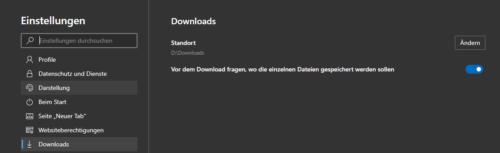 Downloads in Edge