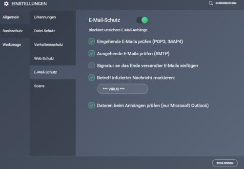 E-Mail-Schutz AVG AntiVirus Free