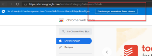 Edge und Google Chrome Store