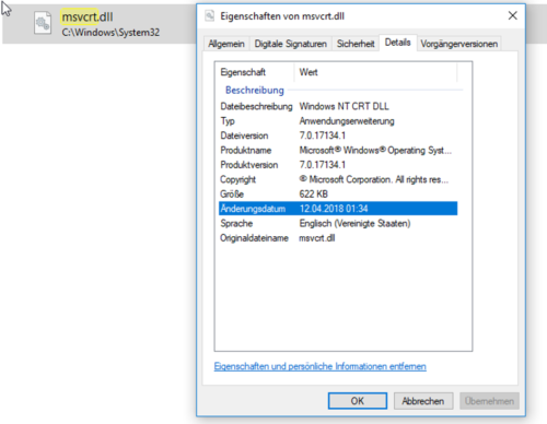 Eigenschaften einer DLL-Datei