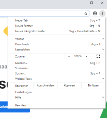 Google Chrome Menü