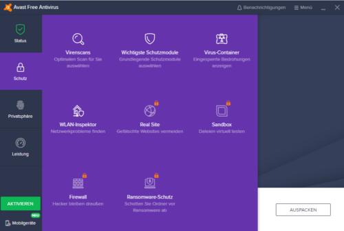 Nicht kostenlose Funktionen in AVAST Free Antivirus