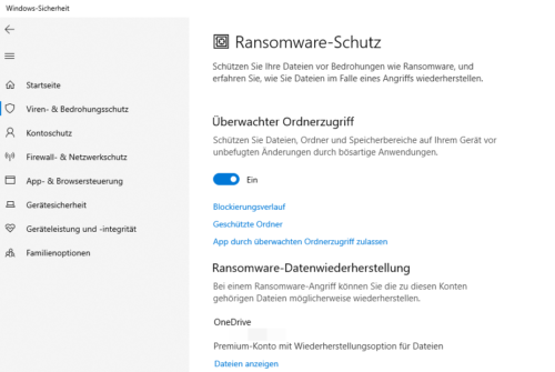 Ransomware-Schutz im Windows Defnder