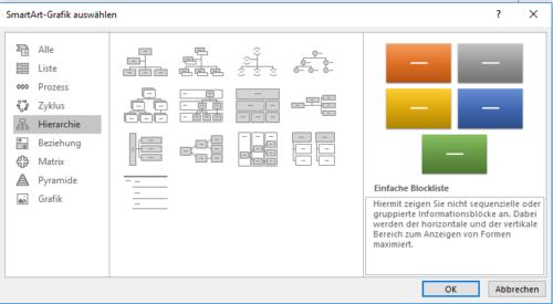 SmartArt für Diagramme, Organigramme und mehr