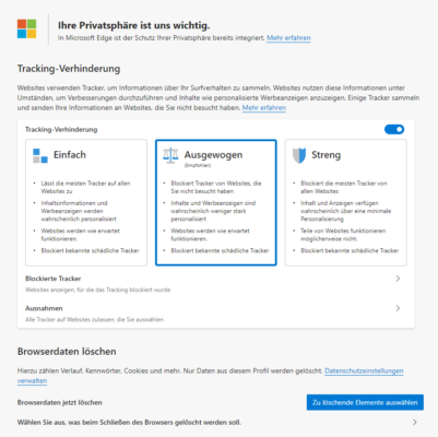 Tracking-Schutz in Edge