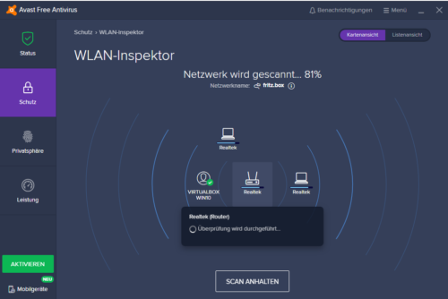 WLAN-Inspektor in Avast Free Antivirus