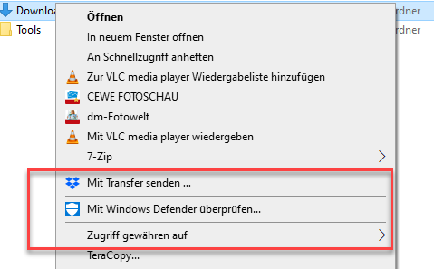 Windows Defender im Kontextmenü von Windows 10