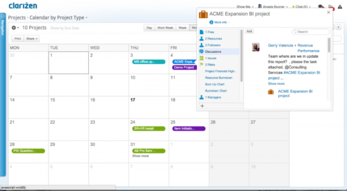 Clarizen Projektmanagement Software Kalender kein Open Source