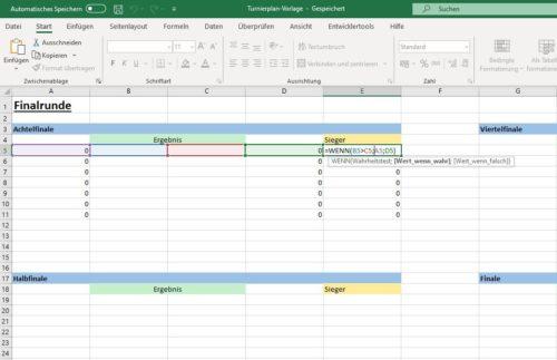 Excel Turnierplan Finalrunde