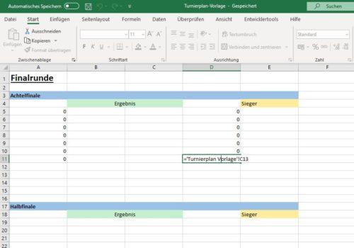 Excel EM Spielplan Finalrunde