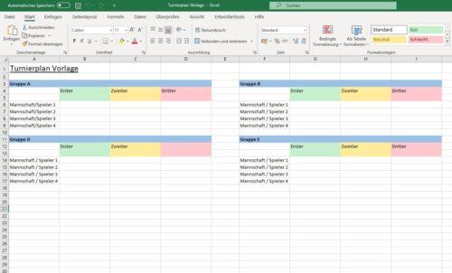 Excel Spielplan Mannschaften eintragen