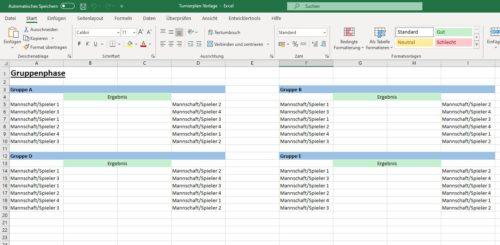Excel Turnierplan Gruppenphase