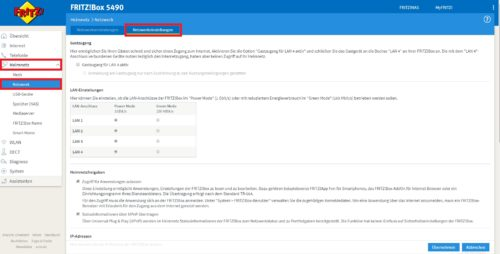 DHCP Einstellungen in der Fritzbox aufrufen
