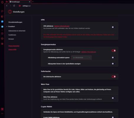 Einstellungen des Opera Gaming Browser
