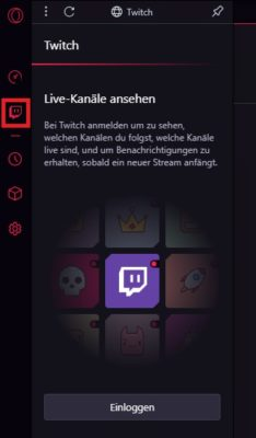 Twitch-Tab in Opera GX