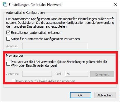 Proxy deaktivieren in Windows 10 deutsch