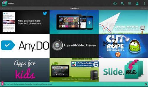Startseite des SlideMe Marketplace