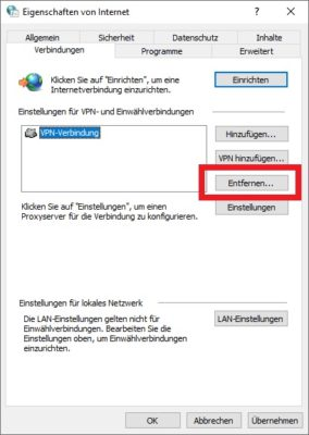 VPN entfernen in Windows 10 deutsch