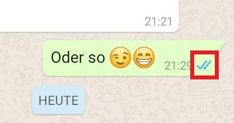 WhatsApp Nachricht zugestellt