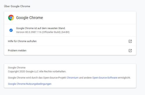Chrome Update Einstellungen