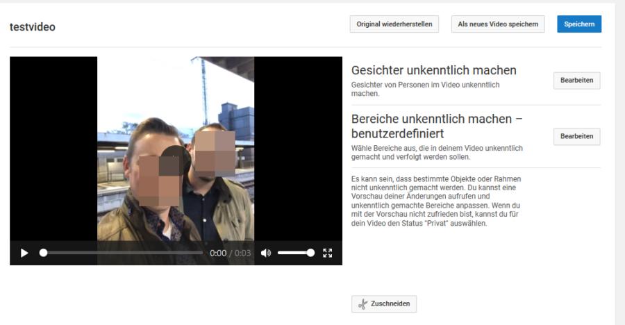 YouTube kann Gesichter in Videos unkenntlich machen