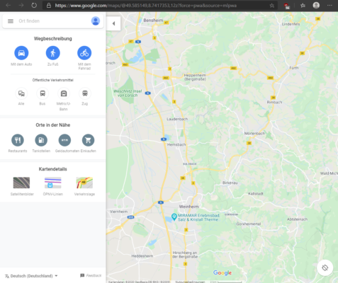 Google Maps als PWA