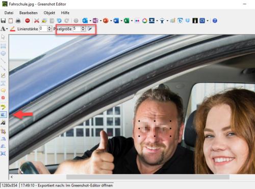 Viele Bildschirmgrabber können auch Bildbereiche verpixeln