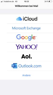 Auswahl verschiedener Mailanbieter auf dem iPhone