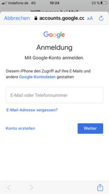 Der Benutzername und das Passwort für den E-Mail-Account