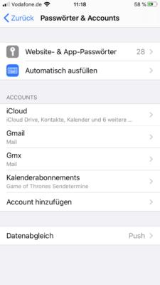 Accounts und Passwörter auf dem iPhone