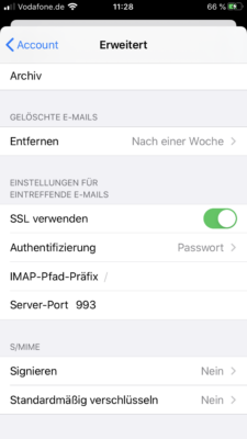 Servername Port und Einstellungen anpassen