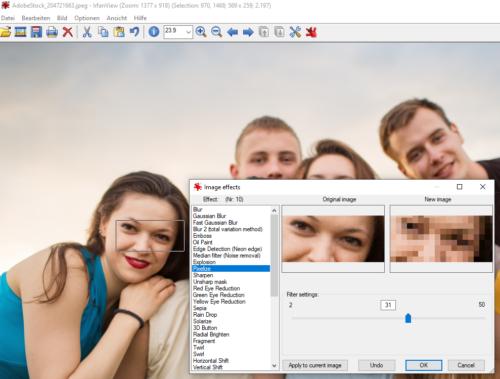 Der Bildbetrachter Irfanview kann auch Bildbereiche unkenntlich machen.
