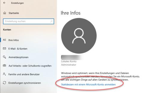 Lokales Konto in Microsoft-Konto umwandeln