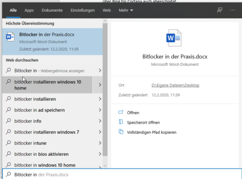 Suche nach Dateien in Windows 10