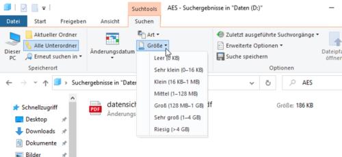 Suche nach großen Dateien