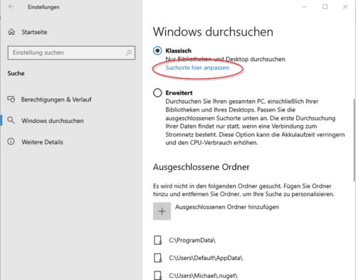 Suchorte für die Suche von Windows anpassen