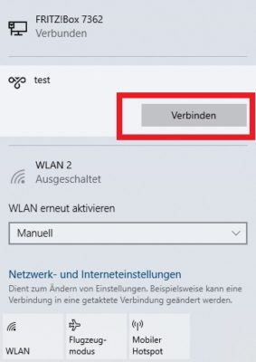 LAN und WLAN Einstellungen: VPN Tunnel aufbauen