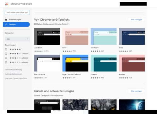 Themes-Angebot im Chrome Webstore