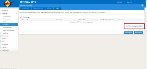 Fritzbox neue VPN Verbindung hinzufügen