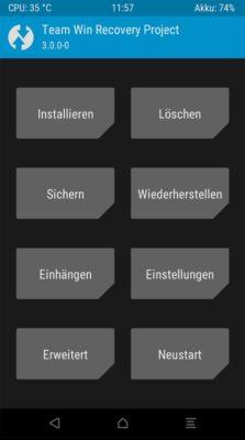 Homescreen von TWRP in deutsch