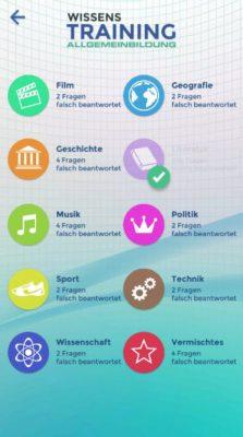 Statistik in der Wissenstraining Lern App