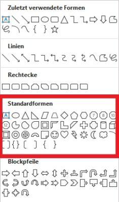 Standardformen in Microsoft Word