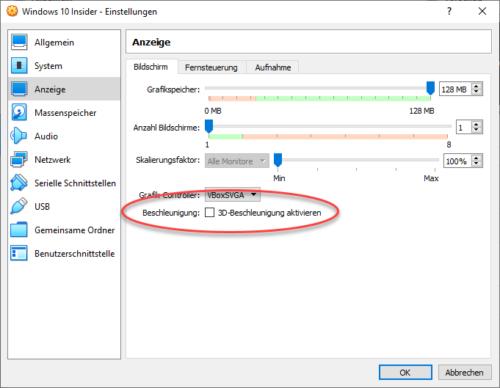 Anzeigeeinstellungen für VM anpassen