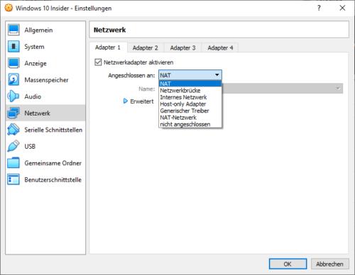 Netzwerkeinstellungen für VM anpassen