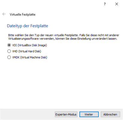 Dateityp der Festplatte für VirtualBox festlegen
