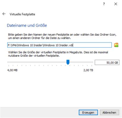 Dateipfad und Name für virtuelle Festplatte festlegen