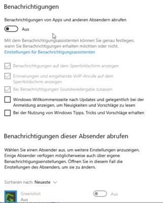 In den Einstellungen von Windows 10 können Sie alle Benachrichtigungen deaktivieren