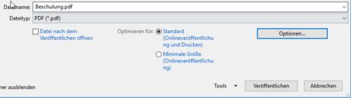 Auswahl der PDF-Qualität für PDF-Dateien aus Office heraus