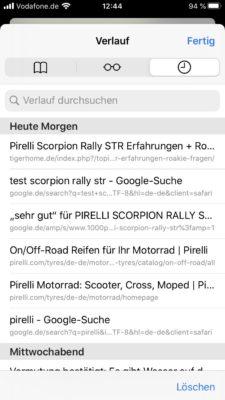Browserverlauf im Safari anzeigen